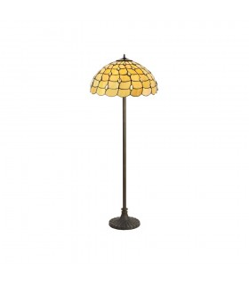 2 Light Stepped Design Floor Lamp E27 With 50cm Tiffany Shade, Beige, Clear Crystal, Aged Antique Brass