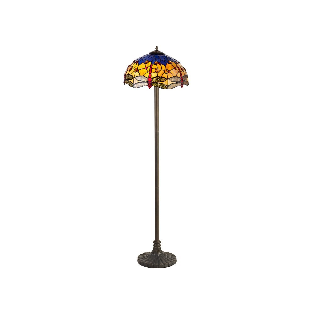 2 Light Stepped Design Floor Lamp E27 With 40Cm Tiffany Shade, Blue, Orange, Crystal, Aged Antique Brass