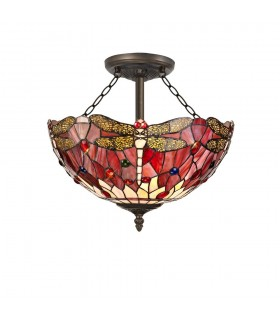 3 Light Semi Flush Ceiling E27 With 40cm Tiffany Shade, Purple, Pink, Crystal, Aged Antique Brass