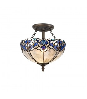 2 Light Semi Flush Ceiling E27 With 30cm Tiffany Shade, Blue, Clear Crystal, Aged Antique Brass