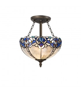 3 Light Semi Flush Ceiling E27 With 30cm Tiffany Shade, Blue, Clear Crystal, Aged Antique Brass