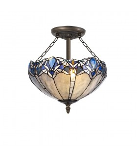 3 Light Semi Flush Ceiling E27 With 40cm Tiffany Shade, Blue, Clear Crystal, Aged Antique Brass