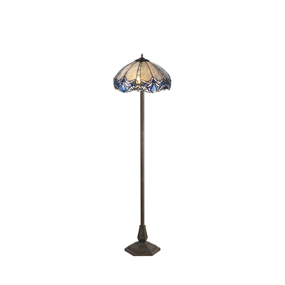 2 Light Octagonal Floor Lamp E27 With 40Cm Tiffany Shade, Blue, Clear Crystal, Aged Antique Brass