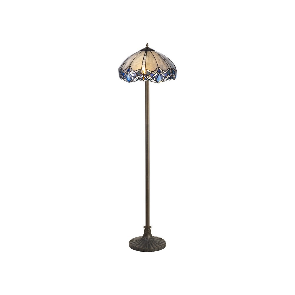 2 Light Stepped Design Floor Lamp E27 With 40Cm Tiffany Shade, Blue, Clear Crystal, Aged Antique Brass