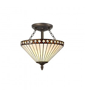 2 Light Semi Flush Ceiling E27 With 30cm Tiffany Shade, Amber, Crystal, Aged Antique Brass