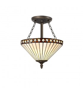 3 Light Semi Flush Ceiling E27 With 30cm Tiffany Shade, Amber, Crystal, Aged Antique Brass