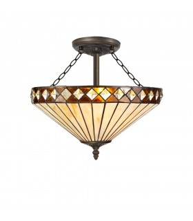 3 Light Semi Flush Ceiling E27 With 40cm Tiffany Shade, Amber, Crystal, Aged Antique Brass
