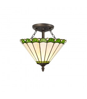 2 Light Semi Flush Ceiling E27 With 30cm Tiffany Shade, Green, Crystal, Aged Antique Brass