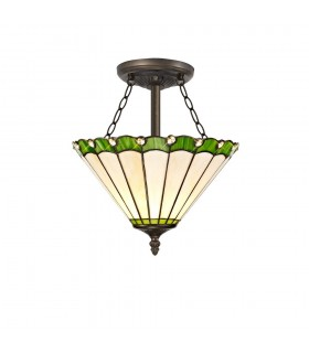 3 Light Semi Flush Ceiling E27 With 30cm Tiffany Shade, Green, Crystal, Aged Antique Brass