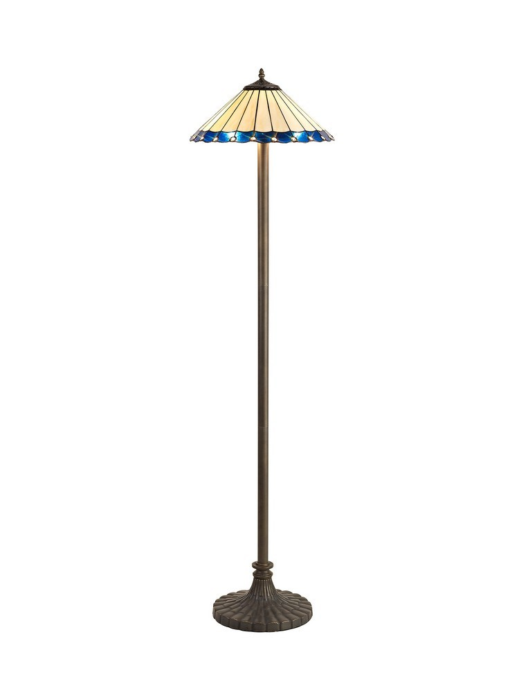 2 Light Stepped Design Floor Lamp E27 With 40Cm Tiffany Shade, Blue, Crystal, Aged Antique Brass