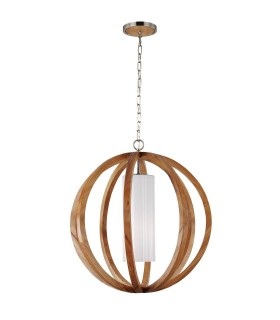 1 Light Large Spherical Cage Ceiling Pendant Brushed Steel, Light wood, E27