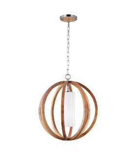 1 Light Small Spherical Cage Ceiling Pendant Brushed Steel, Light wood
