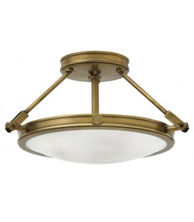 3 Light Small Semi Flush Ceiling Light Brass