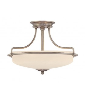 3 Light Semi Flush Ceiling Light Antique Nickel