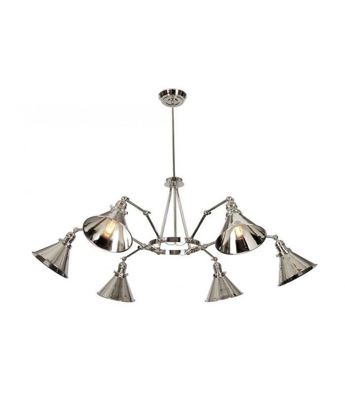 Polished Nickel Six Light Chandelier