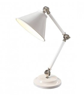 1 Light Table Lamp White, Polished Nickel