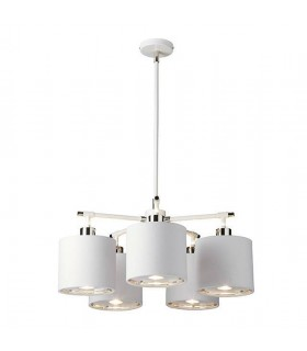 White And Polished Nickel Five Light Chandelier
