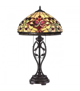 2 Light Table Lamp Imperial Bronze, Tiffany Glass, E27