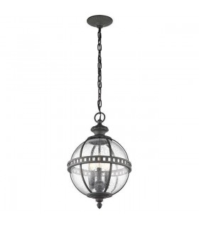 3 Light Outdoor Globe Ceiling Pendant Light Grey IP44