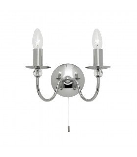 1 Light Indoor Wall Light Chrome with Clear Glass