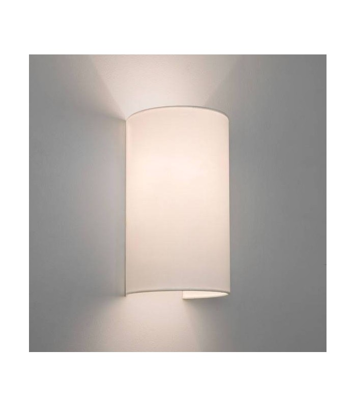 2 Light Twin Wall Light White with Fabric Shade