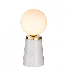 Globe Table Lamp White & Grey Marble With Satin Brushed Gold Effect Plate 1 Light IP20 - G9