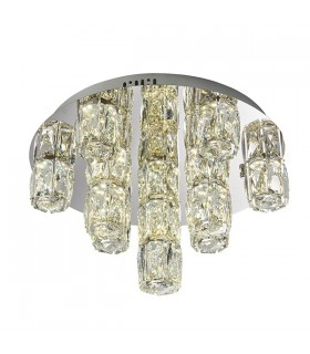 Integrated LED Flush Chrome Effect Plate & Crystal (K9) Glass Detail 15 Light Dimmable IP20