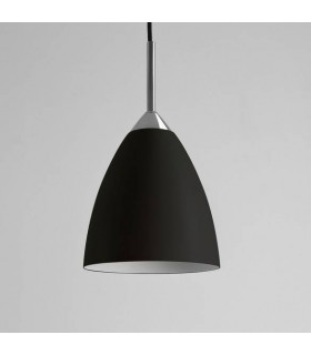 1 Light Dome Ceiling Pendant Matt Black, E27
