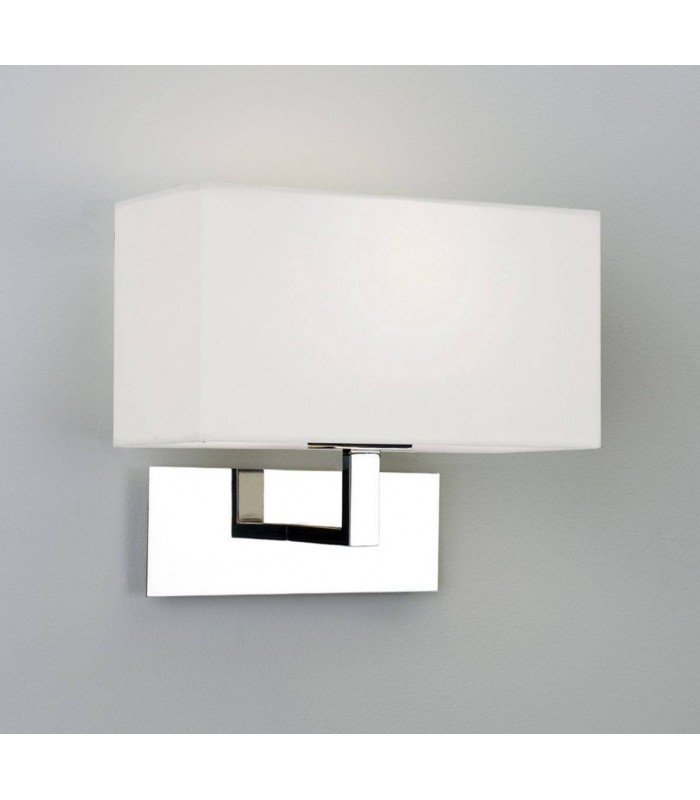 1 Light Indoor Wall Light Polished Nickel with White Shade, E14