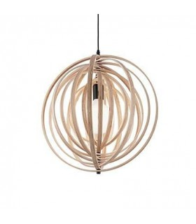 1 Light Spherical Cage Ceiling Pendant Wood