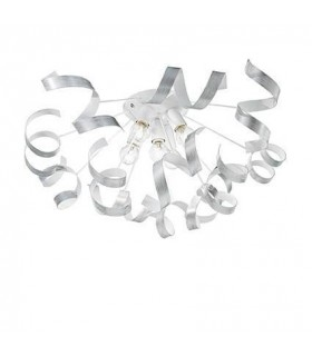 5 Light Indoor Large Flush Light Silver, E14