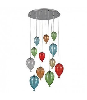 12 Light Large Balloon Cluster Pendant Multi-coloured, G9