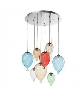 8 Light Medium Balloon Cluster Pendant Multi-coloured, G9