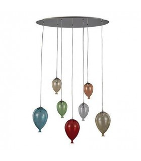 7 Light Oval Balloon Cluster Pendant Multi-coloured, G9