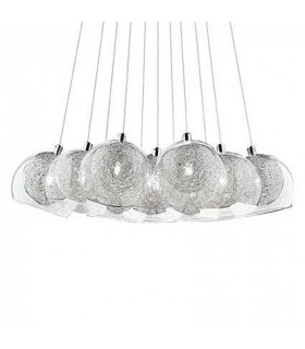 11 Light Large Cluster Pendant Chrome, G4 Bulb