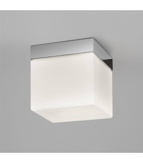 1 Light Square Bathroom Ceiling Light Polished Chrome, White Glass IP44, E27